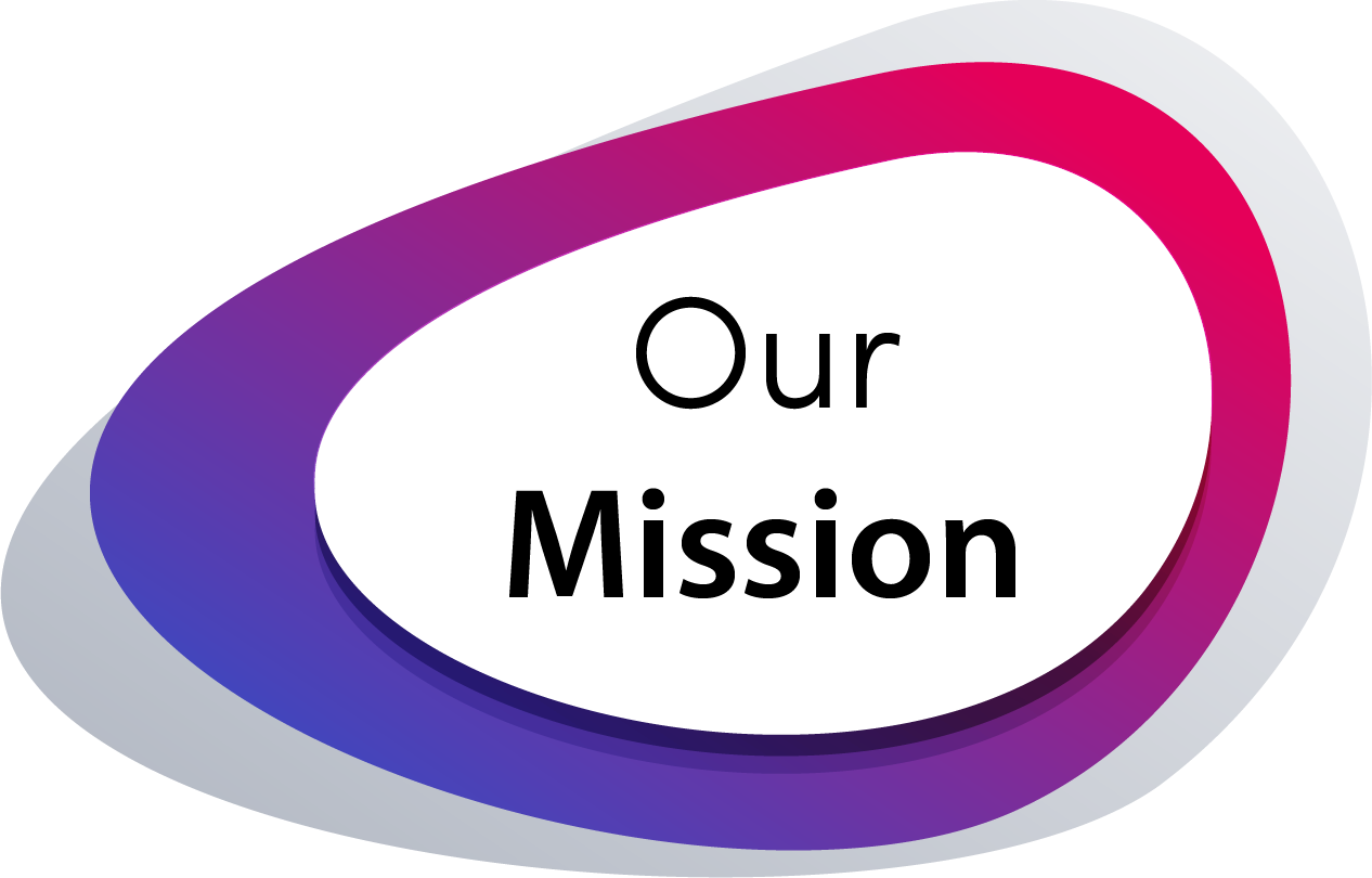 Our Mission (purple and pink gradient background)