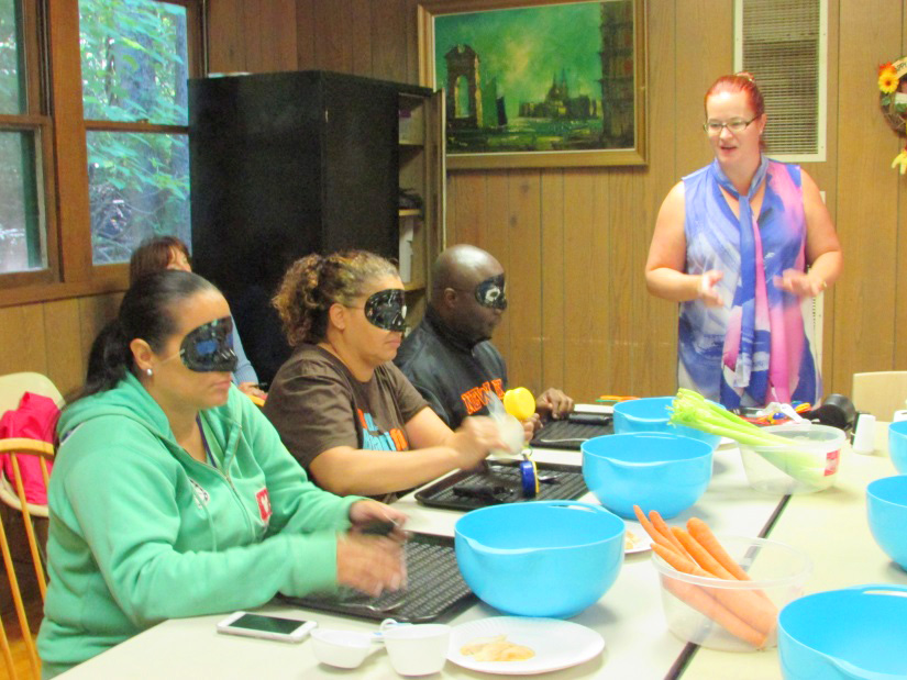 Adults with blindfolds gaining perspective