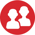Graphic: A filled-in red circle with two icons depicting people in the middle.