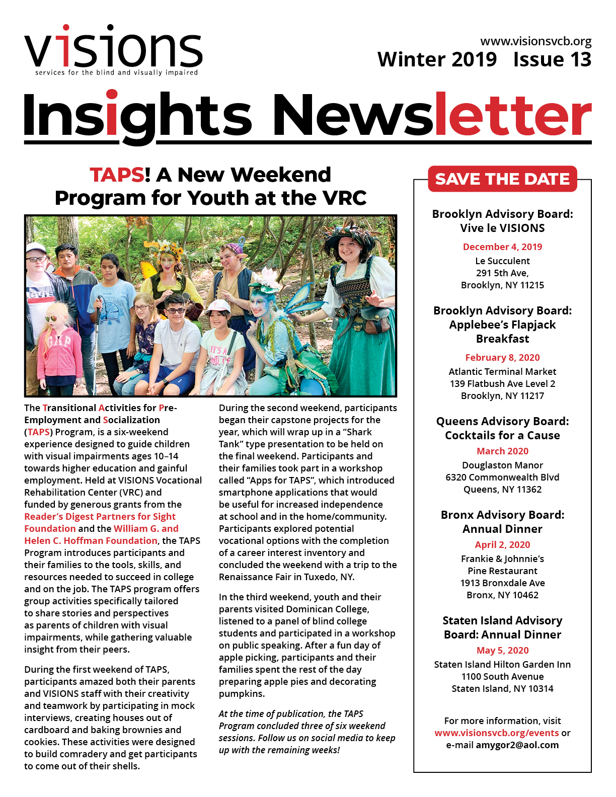 Graphic: VISIONS Insights newsletter, Winter 2019 issue cover. Double-tap or click to read this issue online.