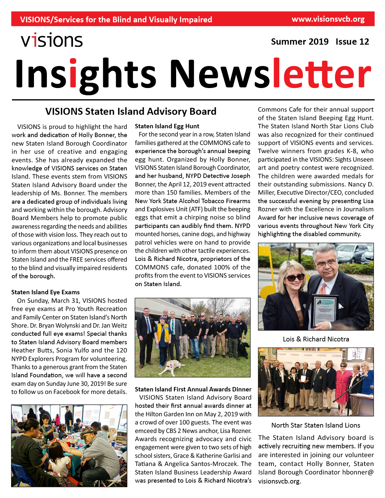 Graphic: VISIONS Insights newsletter, Summer 2019 issue cover. Double-tap or click to read this issue. This document will open as a PDF.