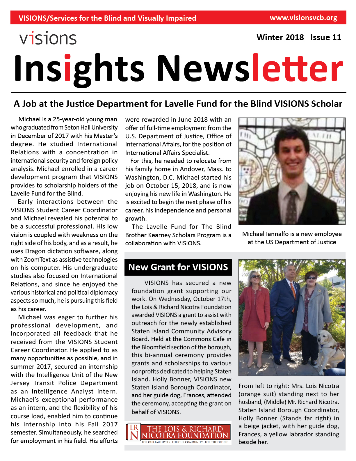 Graphic: VISIONS Insights newsletter, Winter 2018 issue cover. Double-tap or click to read this issue. This document will open as a PDF.