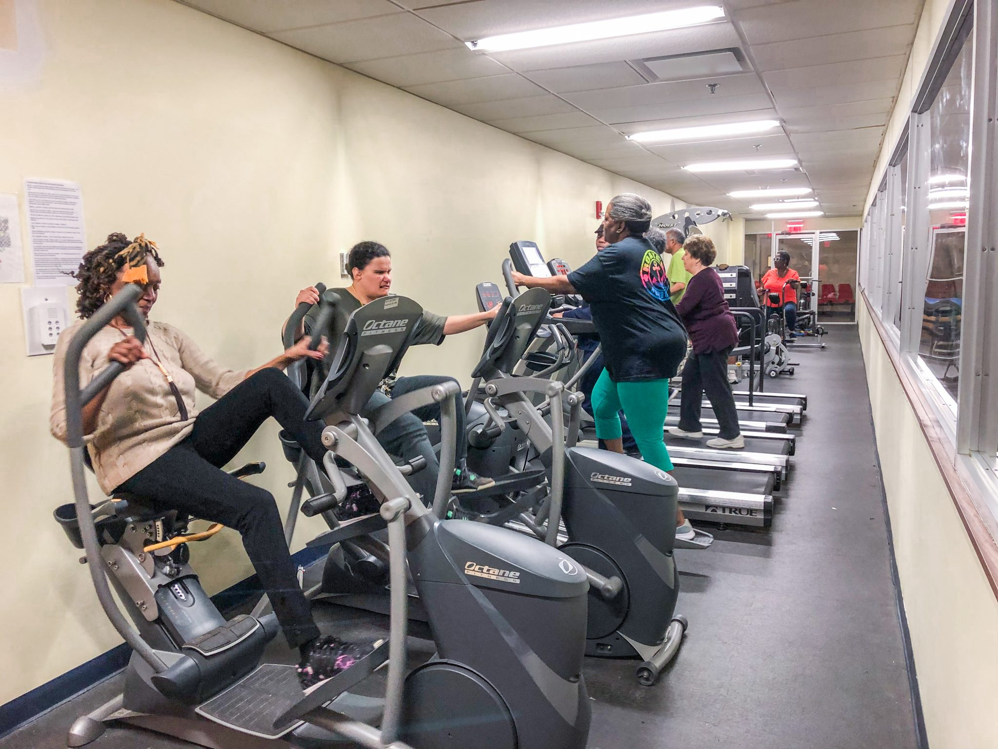 A group of older adult participants at VISIONS Center on Aging use tredmills, elipticals, and other exercise equipment in a large gymnasium