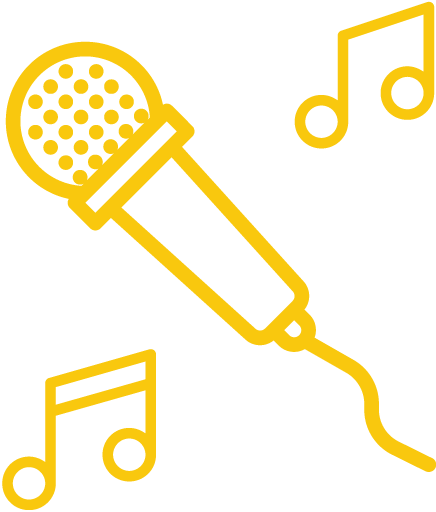 Icon of a microphone surrounded by music notes