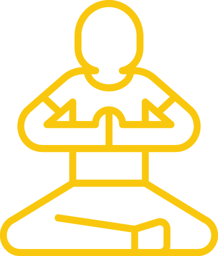 Icon of a person sitting with their legs crossed