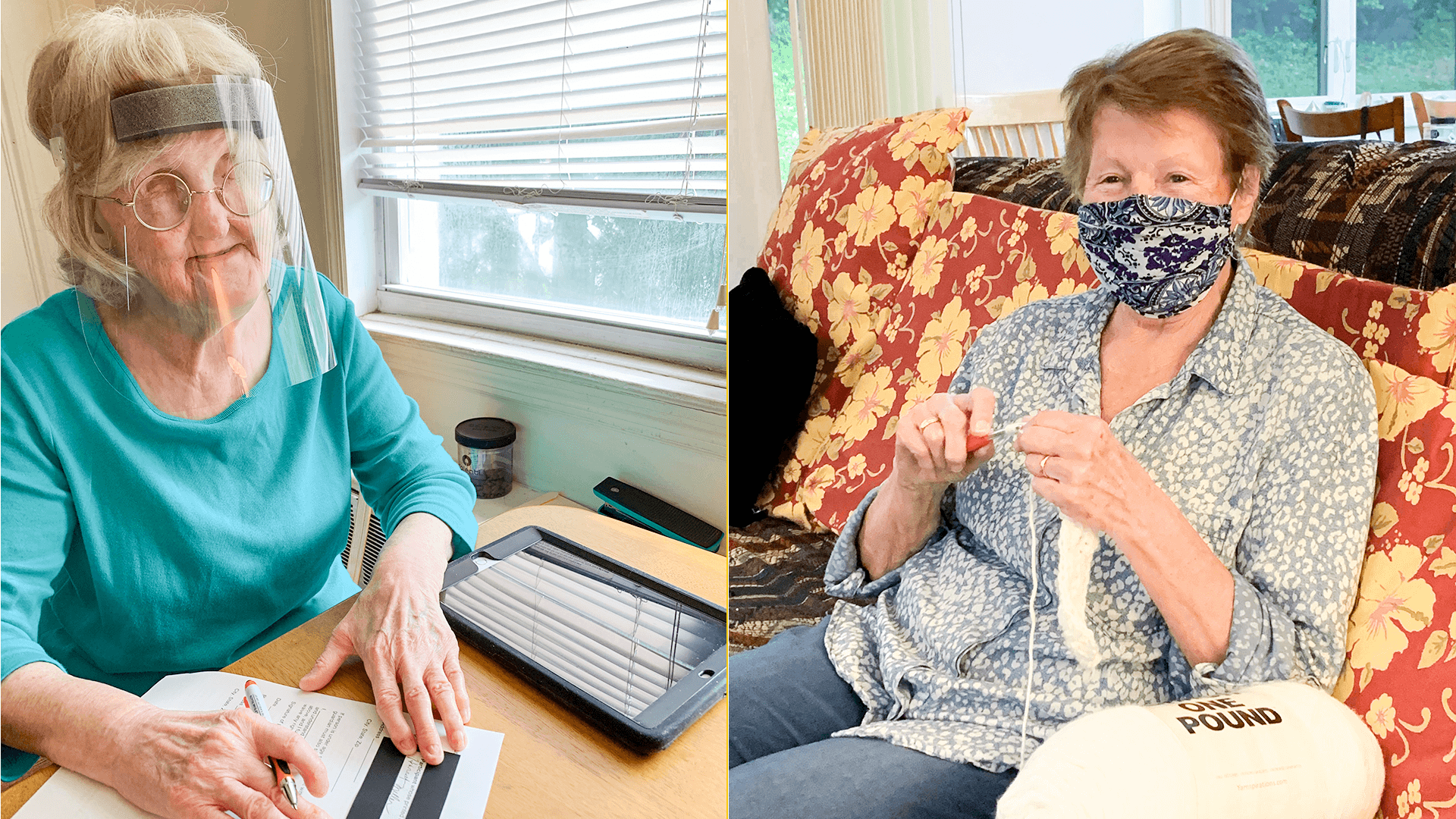Left: A woman wearing a clear face shield uses a signature guide to sign a document. Right: A woman wearing a mask sits on her couch and knits using thick white fabric.