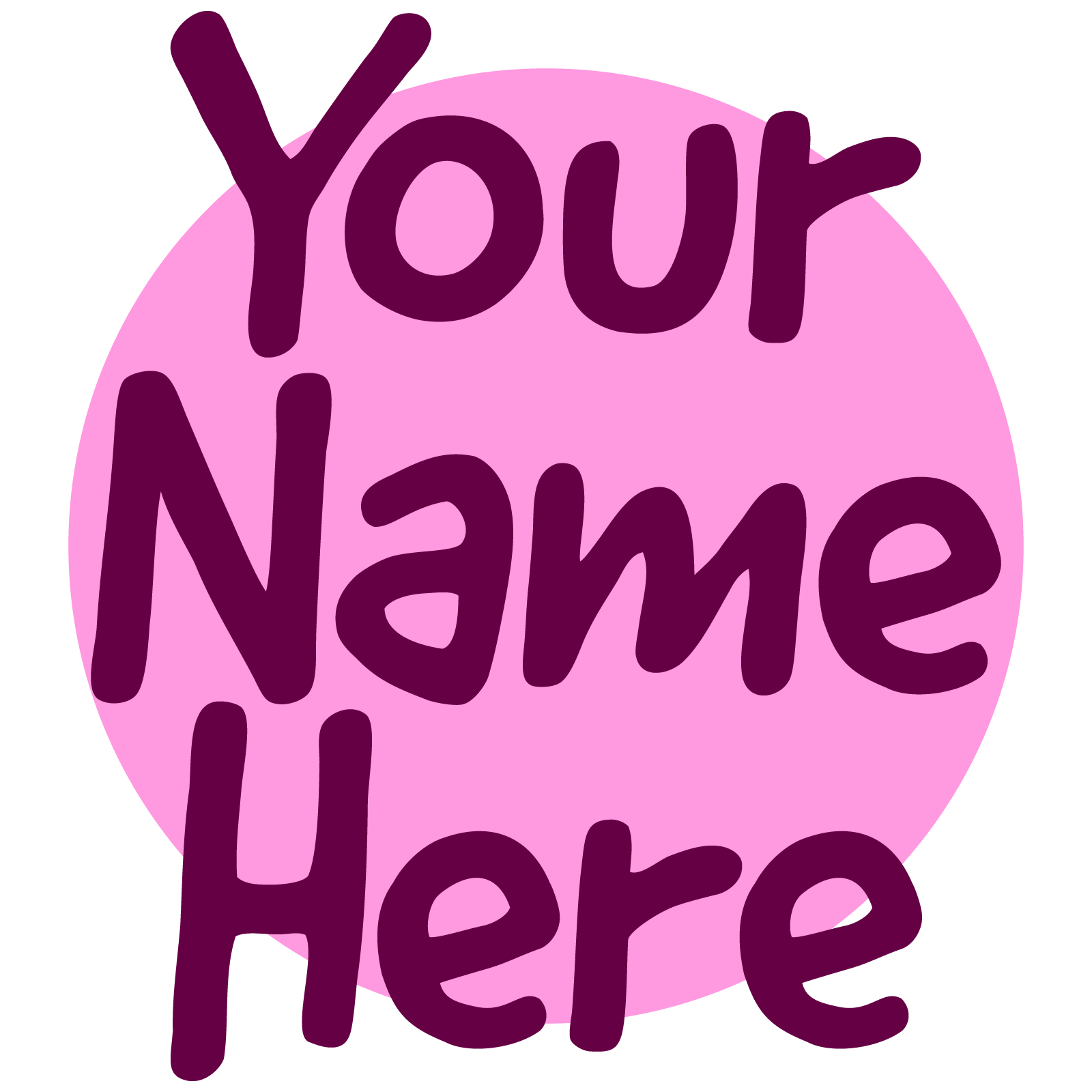 "Icon of text reading ""Your name here"""