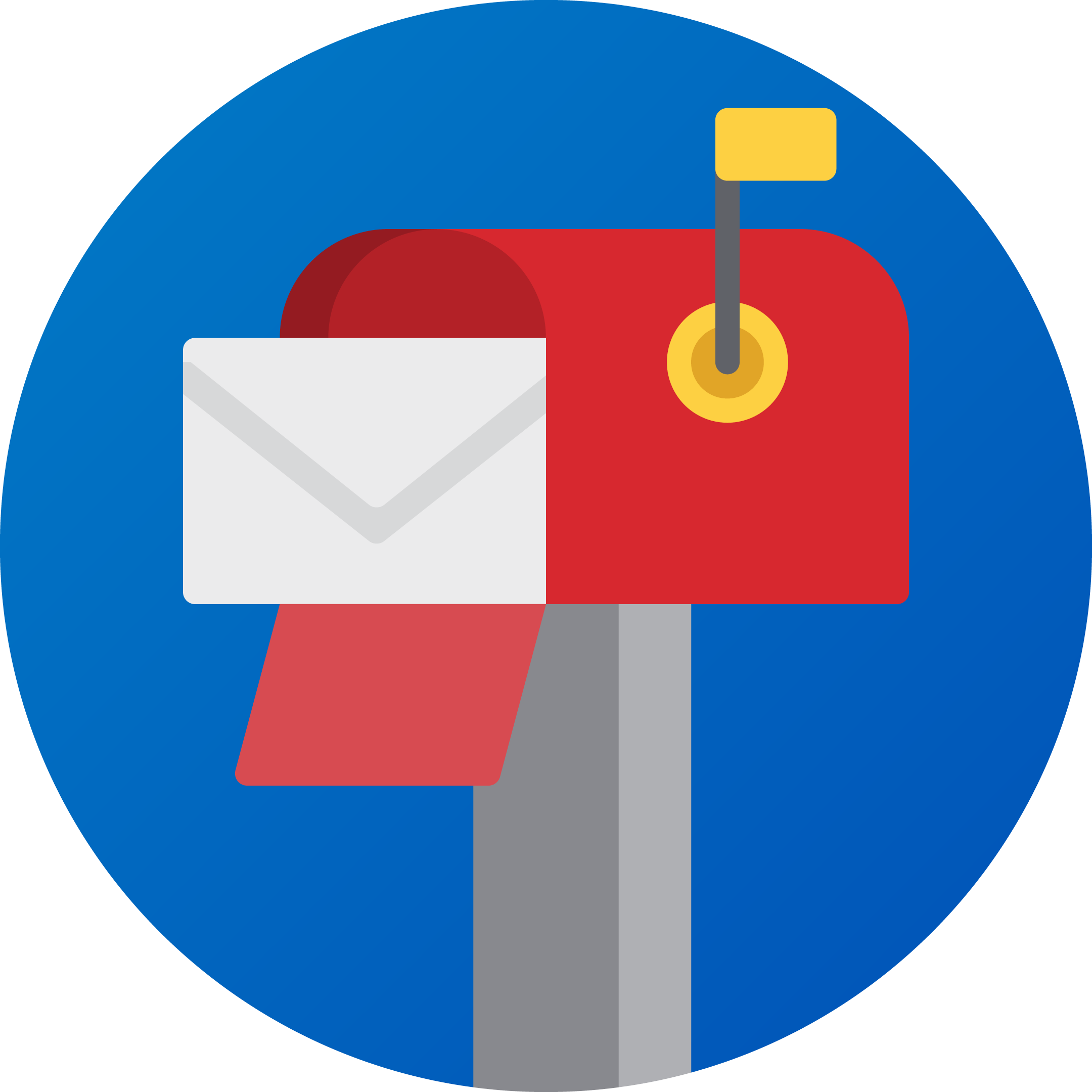 Icon of a red mailbox inside of a blue circle