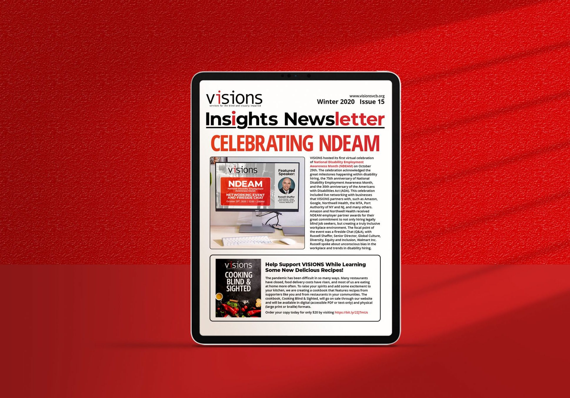 Graphic of the cover of VISIONS Insights newsletter on an iPad.